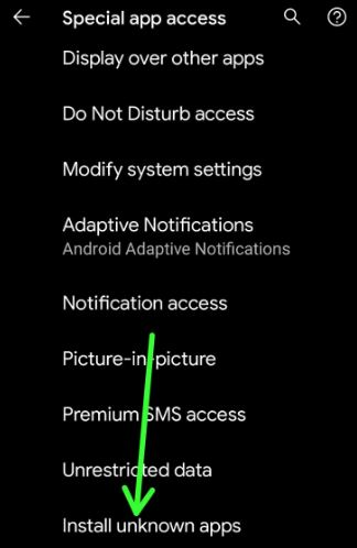Enable install unknown apps Android 11