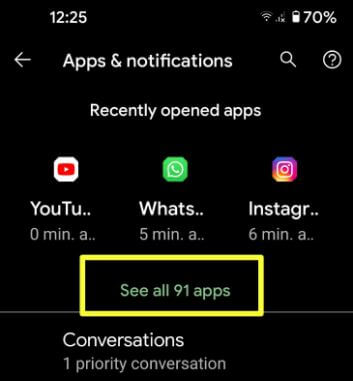Select the App to clear app cache and data on Android 11